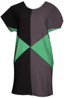 Modern, geometric shirt dress.  Materials: - 95% Polyester - 5% Spandex  Colour: Green/ Black/ Grey ​Size: Small/ Medium