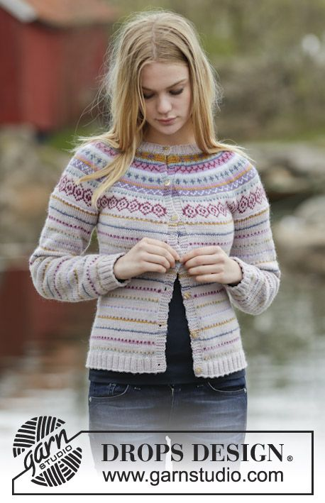 "Cardigan with round yoke and multi-coloured pattern in borders in ""Karisma"". Size: S - XXXL. ~ DROPS Design #freepattern"