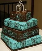 brown and aqua wedding cakes | turquoise and brown wedding cakes