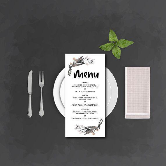 Menu | Brush lettered floral and white suite | DIY print | Wedding Menu