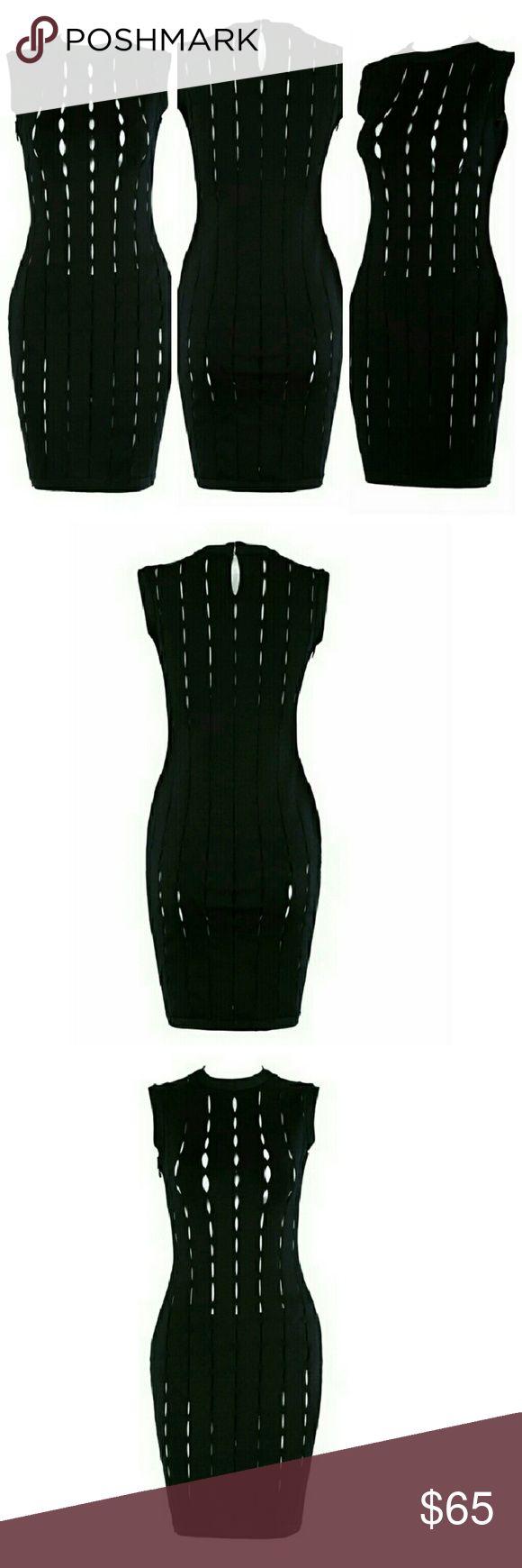 Lil Black Dress Bandages dress hole out tank black apricot mini bodycon elegant sexy women evening party dress Dresses Mini