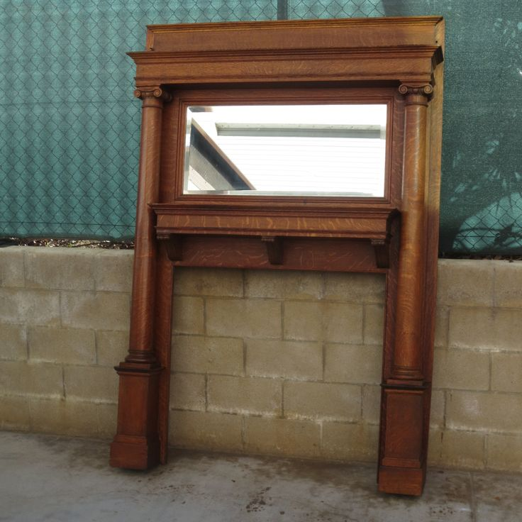 antique oak fireplace mantel with mirror mantels nyc and surrounds tiger architectural