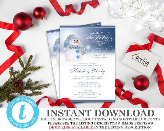 Snowman Invitations Instant Download Printable Holiday Party