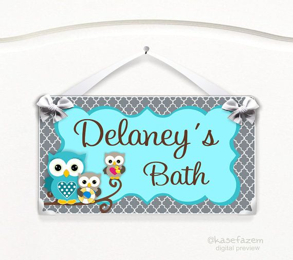 Personalized Owls Bedroom Decor Kids Door Signs By Kasefazem