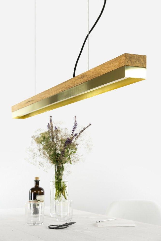 C1o brass pendant light oak wood and brass includes high quality osram