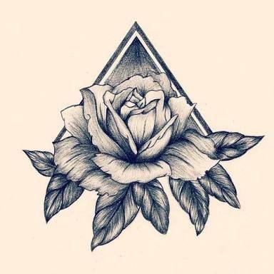 Resultado de imagen para tatto tatuaje triangulo con rosa