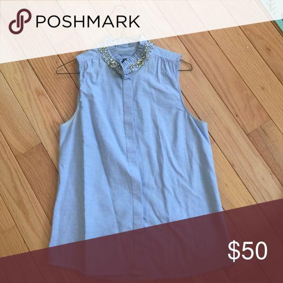 J.Crew Shirt Jeweled color, size four, sleeveless light blue dress shirt J. Crew Tops Button Down Shirts