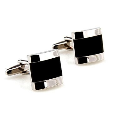 The Shadow Framed Stainless is a modern cufflink for the fashionable man. These black and silver cufflinks set themselves apart with their unique design. | How To Wear Cufflinks  #howmendress #menswear #mensfashion