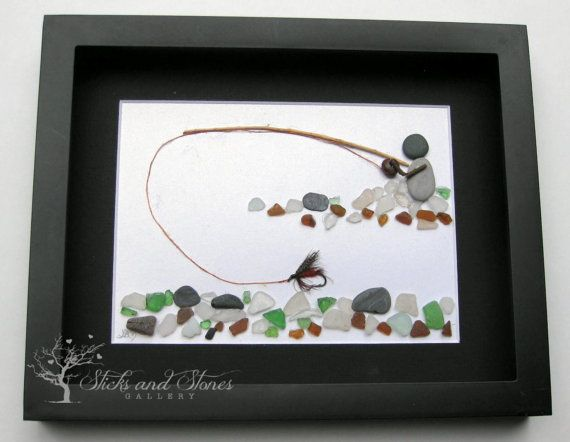 Gifts For Him Fly Fishing Pebble Art  Personalized by SticksnStone