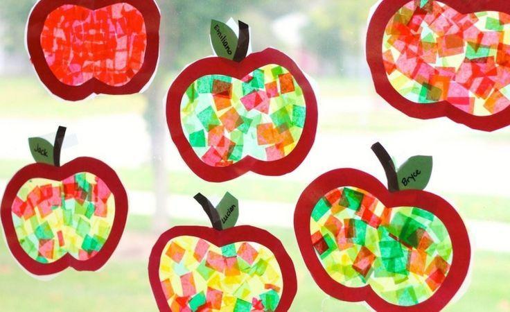 Apfel Fensterbilder mit Seidenpapier basteln; Herbst