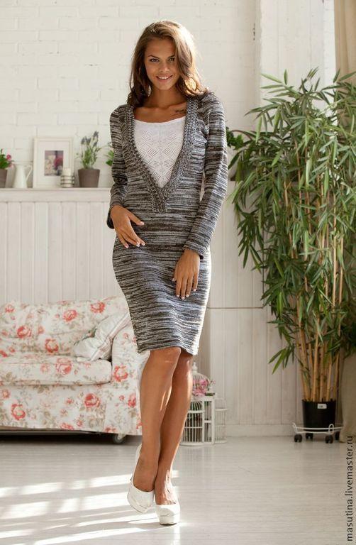 """Купить Платье """"Меланж"""" - серый, серое платье, вязаное платье, ажурное платье, платье на заказ"""