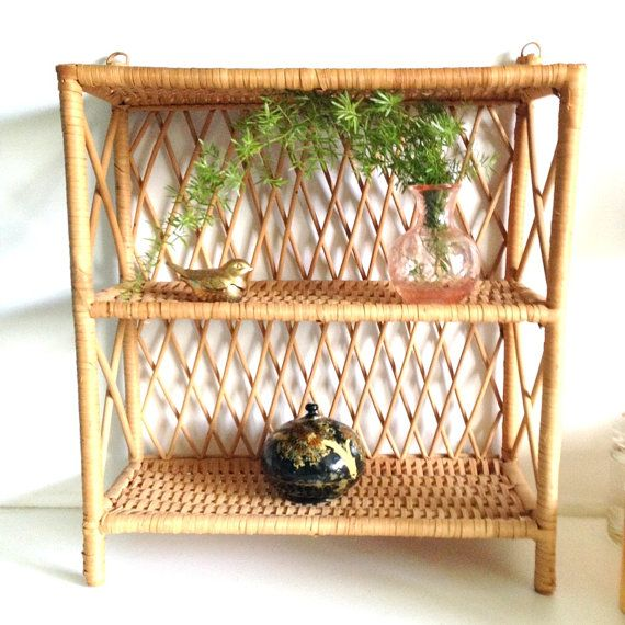 Vintage Rattan Two Tiered Hanging Shelf