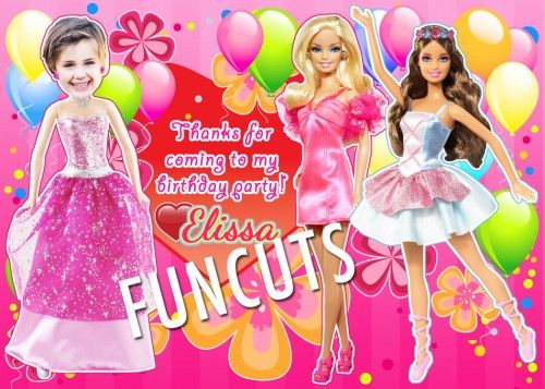 Barbie Invitation, Barbie Kids Birthday Invitation, Party Invites