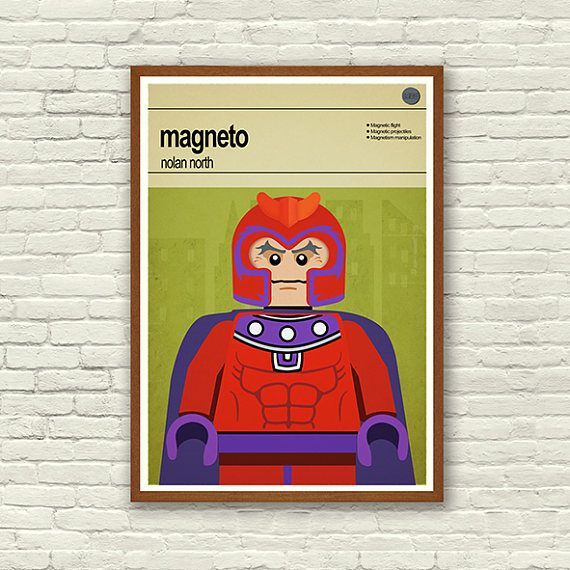 Lego Magneto - Poster Print  This is a stylish poster print of the Lego Super Hero, X-Men Magneto, fit to grace any man cave or children's bedroom. Hand drawn with a graphics tablet and pen this print is styled with typography and features the actor who voiced Iron Man in the Lego Marvel Super Heroes game and the Lego Super Hero abilities.