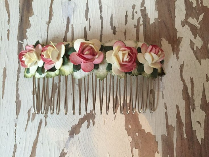 Pink/Cream Paper Flower Roses Hair Comb by SunshinePieCreations on Etsy https://www.etsy.com/listing/262592983/pinkcream-paper-flower-roses-hair-comb