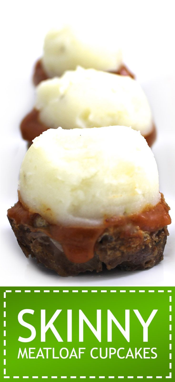 Skinny Meatloaf Cupcakes. Adorable, fantastic and topped with skinny mashed potatoes. Each  has 154 calories, 3g fat & 4 Weight Watchers POINTS PLUS. http://www.skinnykitchen.com/recipes/skinny-meatloaf-cupcakes/