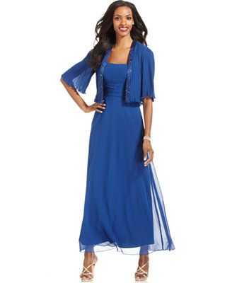 Patra Dress and Jacket, Sleeveless Pleated Gown