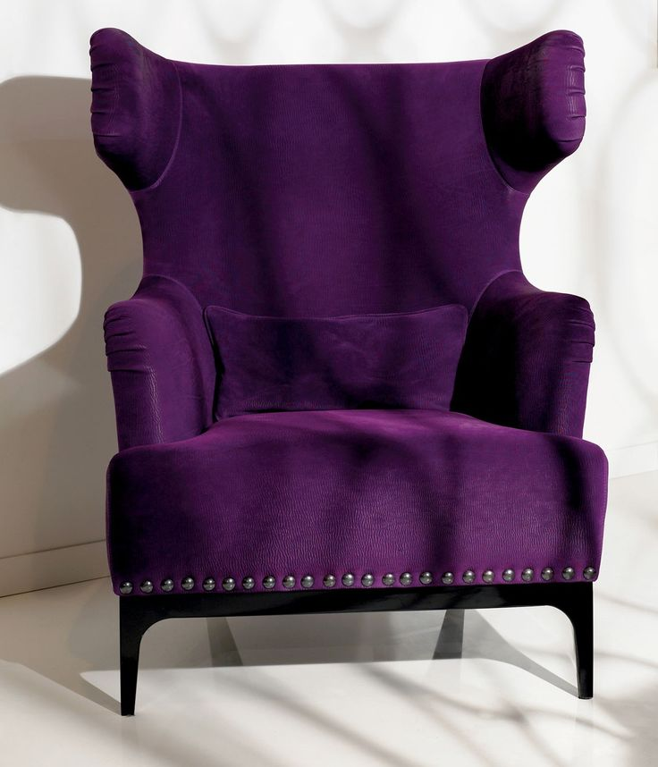 Luxe italian designer lounge chair in purple upholstery - Purple chairs for bedroom ...