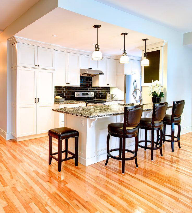 Renovated condo kitchen- classic black and white