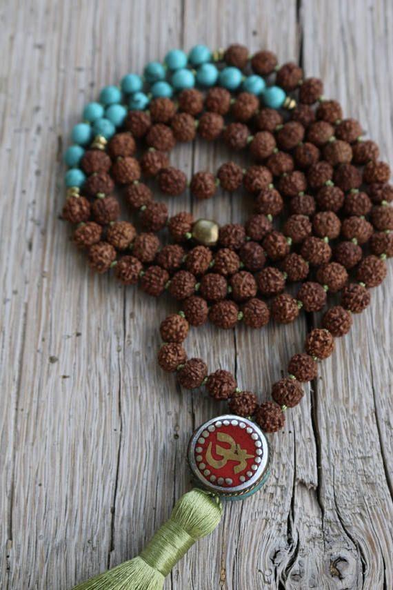 Rudraksha Mala granos granos de rezo de turquesa piedra