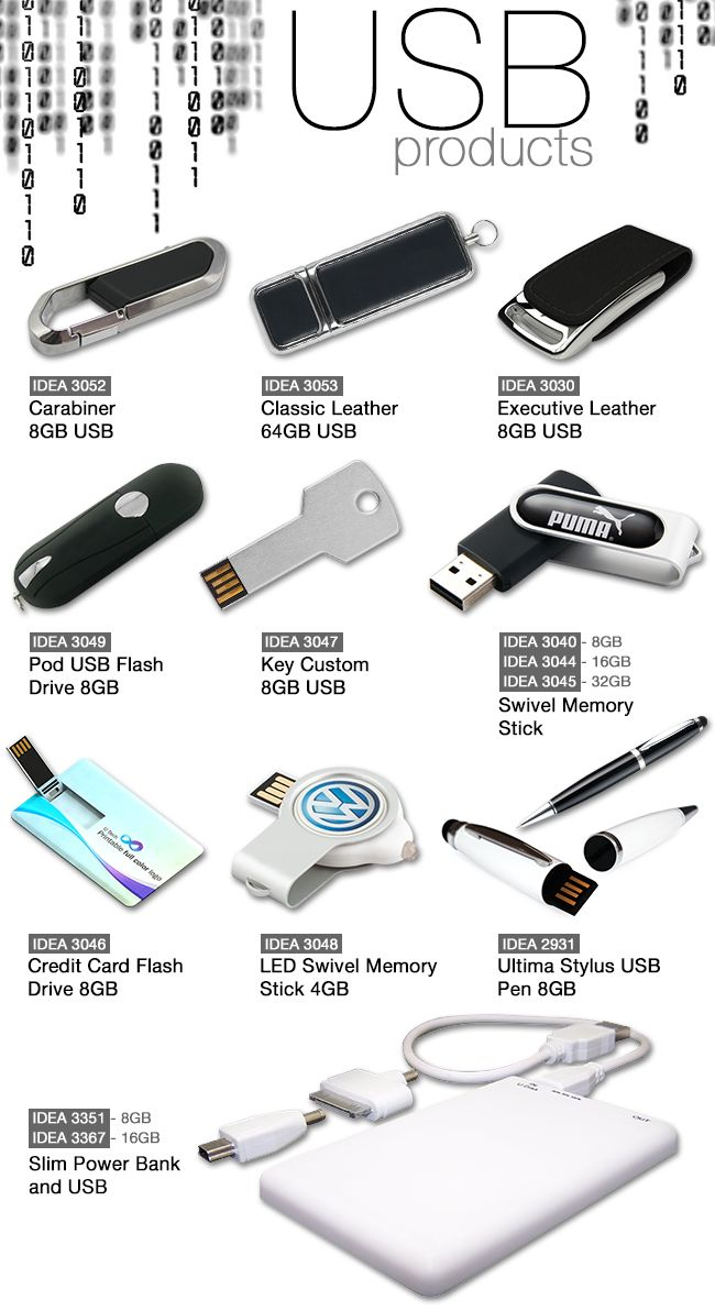Flash drives or USB drives - these are great as office / corporate give-aways - Upload a message onto it and its a super mobile advert.