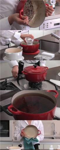 【お鍋が焦げてしまったときの対処法】①焦げ付きが浸される程の水と、酢もしくは重曹を入れる。  ②極弱火で加熱し沸騰させ、沸騰してから約10分間、更に同じ火加減で加熱。  ③焦げの部分がふやけて取れやすくなるので、柔らかいスポンジなどで水洗いする。  ※クレンザーやナイロン製などの柔らかいタワシでお使いいただいても構いませんが、表面にキズが付く場合があります。また、漂白剤のご利用はお避け下さい。