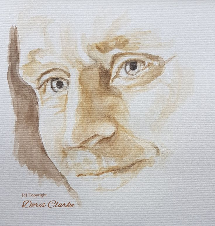 Tonal face study in watercolour of Tom Hiddleston. Artwork by Doris Clarke (c) copyright 2017