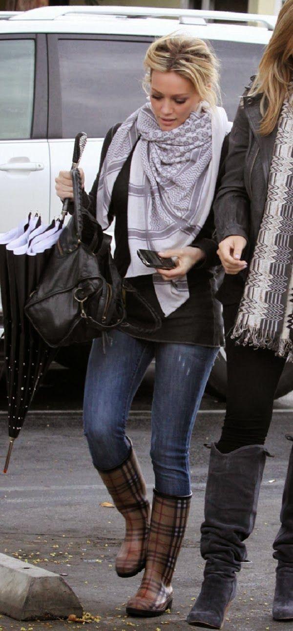 Hilary Duff in plaid rain boots