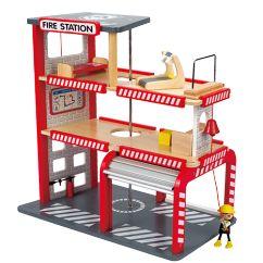 Brandweerkazerne met 3 verdiepingen. Roldeur, klimtouw, glijpaal, bel, 3-delige inrichting en brandweerman.