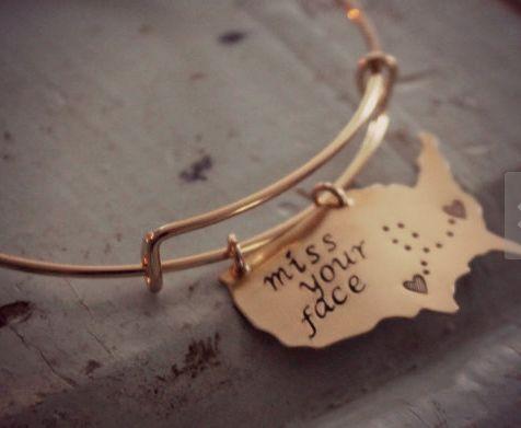 State Bracelet, Long Distance Relationship Bracelet, Best Friends Gift, Going…                                                                                                                                                                                 More
