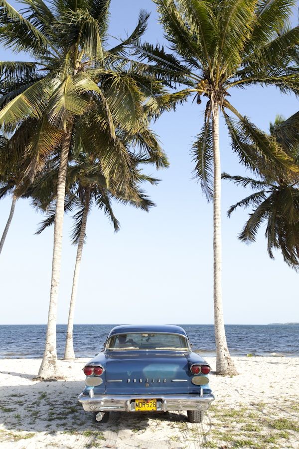 Classic car on the Cuban beach. ❤ Some destinations remain for good in ours memory, Cuba is one of them. http://Netssa.com/cuba.html