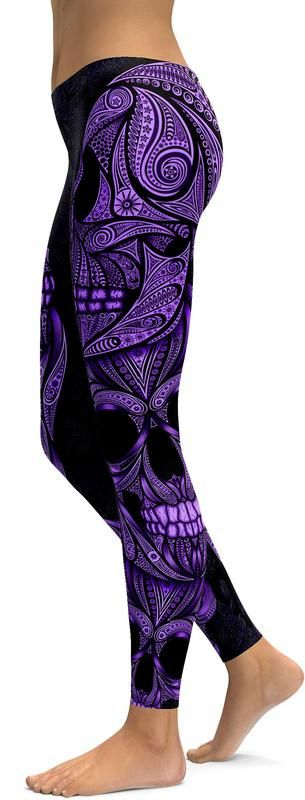 Check out our Purple Ornamental Skull Leggings! W'eve got a lot of requests for colored variations of our white Ornamental skull design. And as you all know, if you need something... we will create it