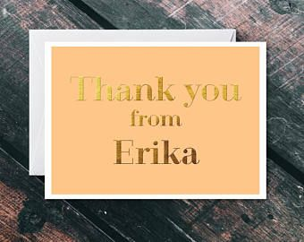 Personalised Thank You Card - Thank You Card Bulk - Thank You Card Pack - Thank You Card Set - Personalised Card - Gold Thank You Card