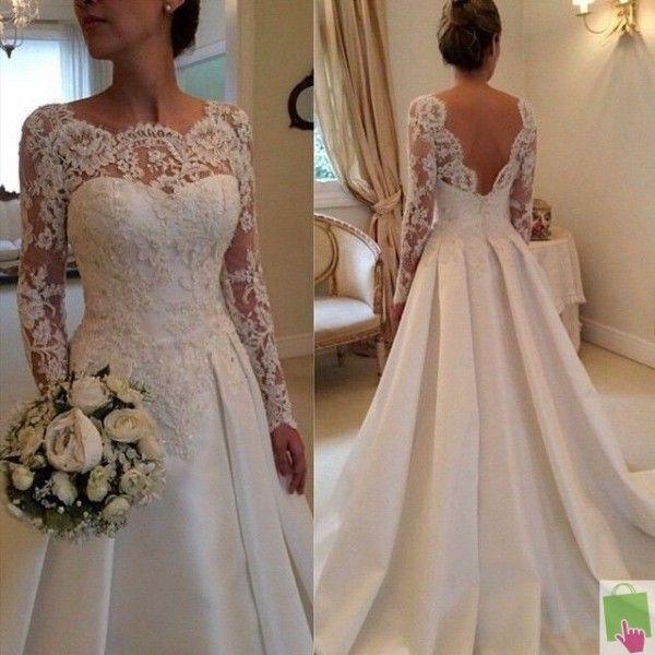 robe de mariée satin et dentelle manches longues pas cher