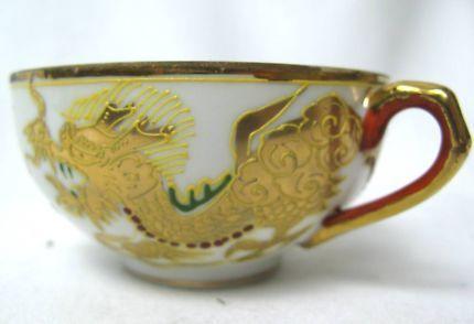 $25 Vintage Kutani TEA CUP Gold DRAGON Japanese Porcelain Face GEISHA Text 0411691171 or email info@bitspencer.com