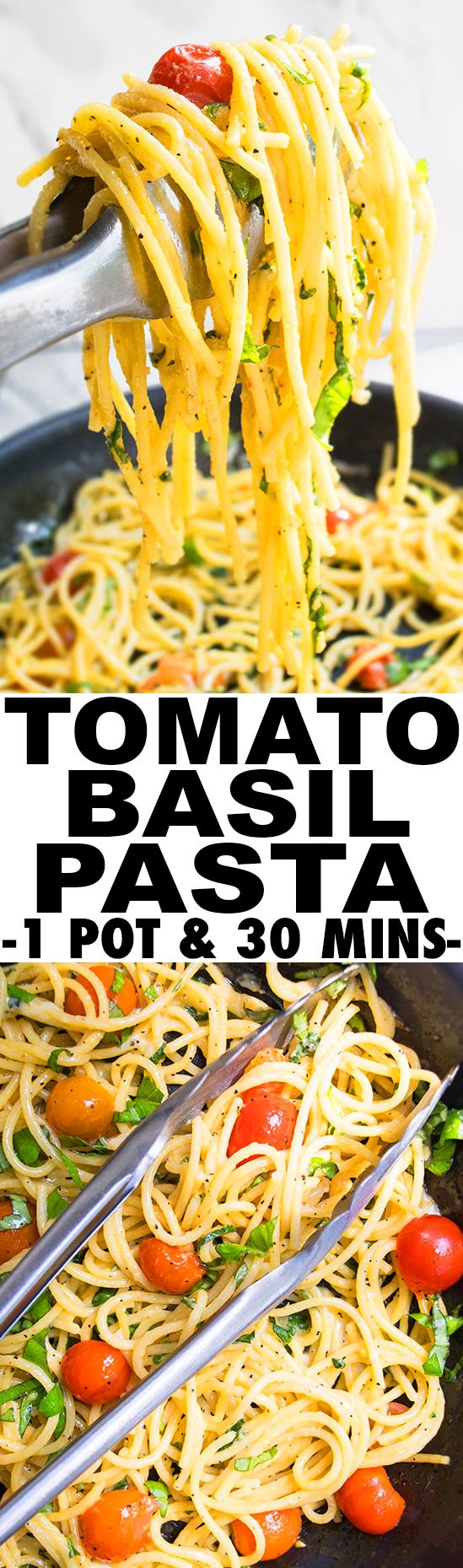 Quick and easy one pot TOMATO BASIL PASTA recipe is a simple 30 minute dinner idea. This vegetarian pasta recipe is creamy, flavorful and made with simple ingredients and the perfect easy weeknight meal. From cakewhiz.com http://healthyquickly.com/55-healthy-recipes-salads-haters/