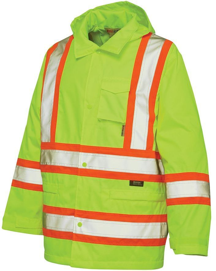 Men's Work King High Visibility Hooded Rain Jacket