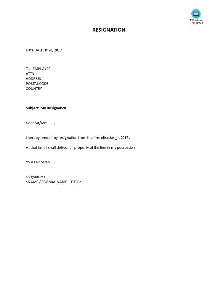 resignation how to write a resignation download this standard resignation letter now. Resume Example. Resume CV Cover Letter