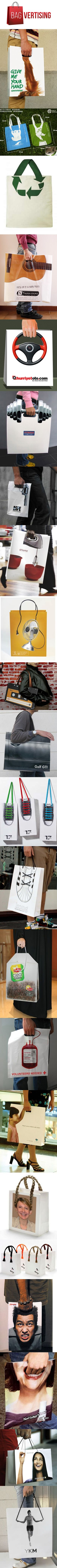 super creative guerrilla marketing solutions using BAGVERTISING