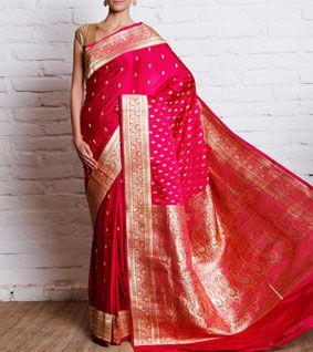 Rani Pink Katan Silk Banarasi Saree