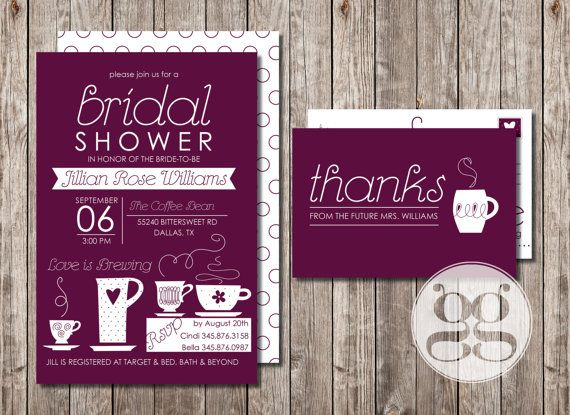 Love is Brewing Coffee Bridal Shower Invitation by GrabnerGraphics