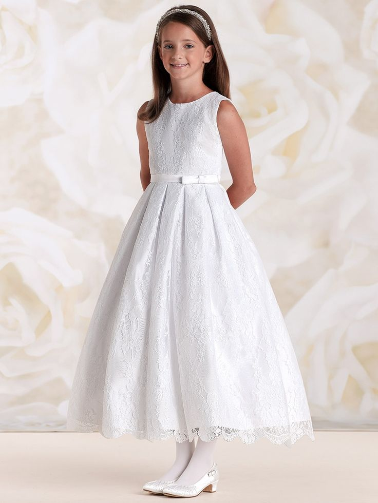 Joan Calabrese White Satin & Lace Dress w/ Bow