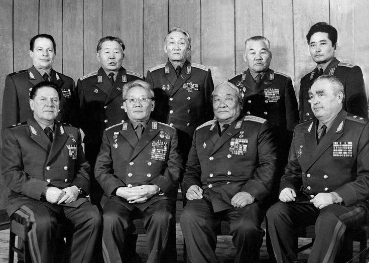 Soviet- mongol military comission. Tesdenbal seated (2).
