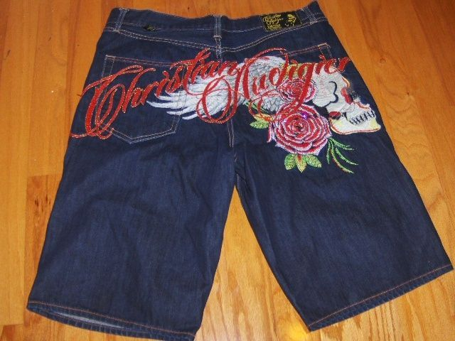 "http://motorcyclespareparts.net/christian-audigier-limited-edition-flying-skull-dark-blue-denim-shorts-40-x-15/Christian Audigier Limited Edition Flying Skull Dark Blue Denim Shorts 40"" x 15"""