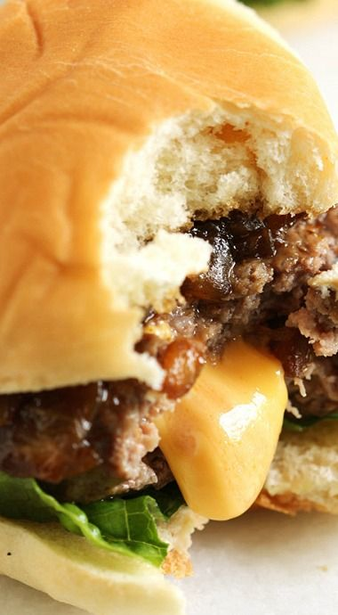 Cheese Stuffed Sliders with Balsamic Onion Jam