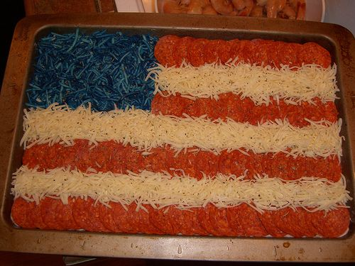 4th of July Flag Pizza - the dye thing is gross, on so many levels - blue cohosh or something else would make more sense