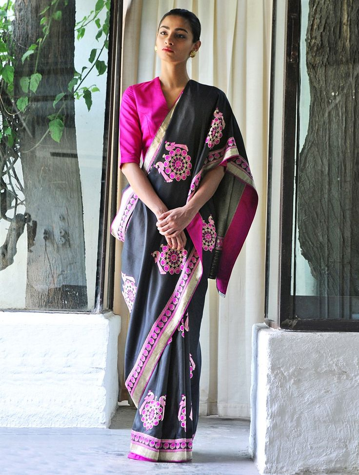 Black Begum Hazrat Mahal Silk Zari Handwoven Saree by Raw Mango
