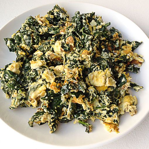 Lacinato Kale Recipe with eggs for a hearty breakfast. Think spinach omelette…