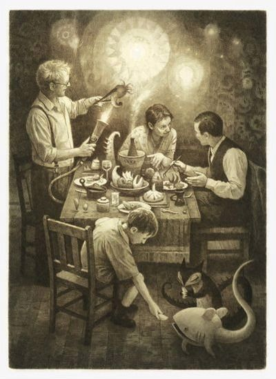 The Arrival, by Shaun Tan. How often did meals in China feel this way?                                                                                                                                                                                 More