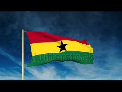 Ghana flag slider style. Waving in the wind with cloud background animat...